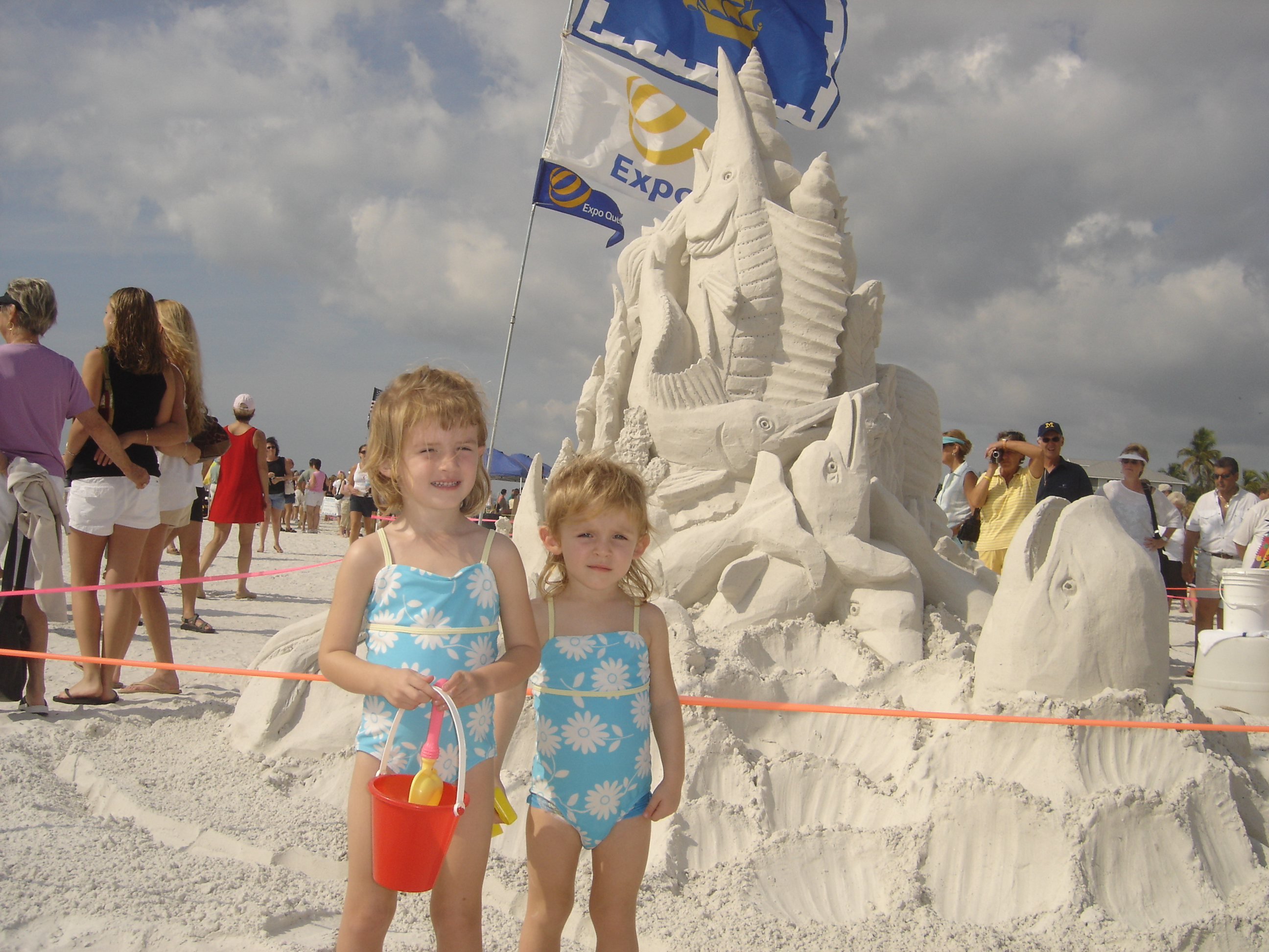 Paige & Josie at the Sandcastle Contest on Fort Myers Beach!